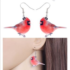 Red Cardinal Winter Bird Acrylic Earrings
